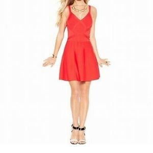 Guess Coral Fit & Flare Bandage Dress S